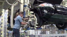 A Toyota RAV4 is seen on the assembly line in Woodstock, Ont. in this undated image taken from video.