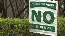 Residents in Elmira oppose a proposed biofuel plant. April 15, 2012.
