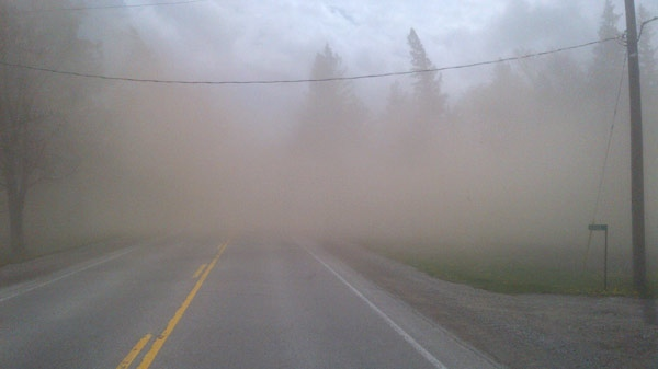 MyNews contributor Ian Stone sent in this photo of dust from a farmer's field blowing accross the road during high winds near Brodhagen, Ont. on Monday, April 16, 2012.