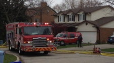 A fire engine is seen on Ralston Place in Waterloo, Ont. on Wednesday, May 2, 2012. (David Imrie / CTV News)
