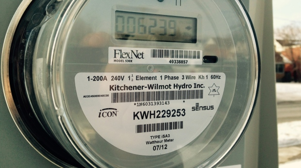 A hydro meter is seen in Kitchener, Ont., on Friday, Jan. 23, 2015. (David Imrie / CTV Kitchener)