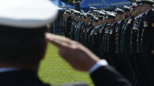 Canadian Armed Forces, Royal Canadian Navy personnel, veterans and cadets commemorate those lost as sea in the Second World War Battle of the Atlantic, in Victoria, B.C., on Sunday May 3, 2015. (THE CANADIAN PRESS/Chad Hipolito)