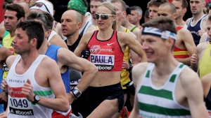 The current world record holder for the women's marathon Britain's Paula Radcliffe, centre, starts the 35th London Marathon, in Blackheath, London, Sunday, April 26, 2015. (AP / Tim Ireland, file)