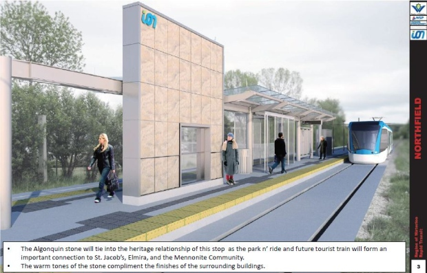 This rendering shows the proposed design for the Ion stop at Northfield Drive in Waterloo. (Region of Waterloo)