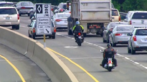 Traffic conditions improved on Tuesday, day two of the temporary HOV lanes on GTA highways, police said.