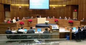 Guelph City Council is pictured during a budget meeting held on Wednesday, Dec. 9, 2015. (Terry Kelly / CTV Kitchener)