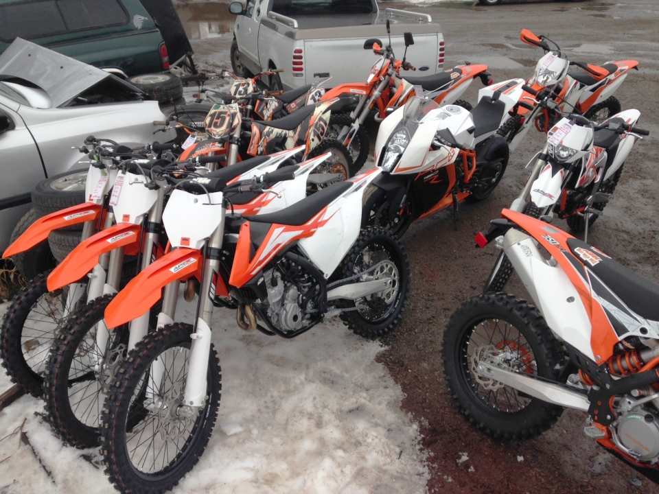 Police say these motorcycles were stolen from a business in Kitchener, then recovered at a traffic stop just east of the city on Wednesday, Dec. 30, 2015. (Terry Kelly / CTV Kitchener)