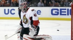 Ottawa Senators goalie Craig Anderson fails to block a goal by Anaheim Ducks centre Andrew Cogliano during the second period of an NHL hockey game in Anaheim, Calif. on Wednesday, Jan. 13, 2016. (AP / Chris Carlson)
