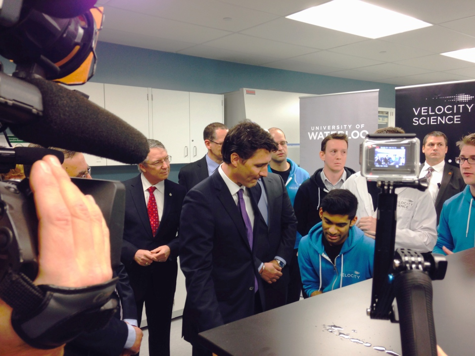 Prime Minister Justin Trudeau tours a science lab at the University of Waterloo on Thursday, Jan. 14, 2016. (Frank Lynn / CTV Kitchener)