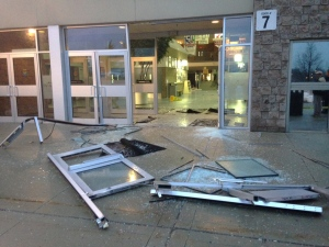 Damage is seen following a break-in and theft at The Aud in Kitchener on Wednesday, Feb. 3, 2016. (Marc Venema / CTV Kitchener)