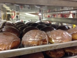 A batch of paczki is pictured at Nougat Bakery in Kitchener on Tuesday, Feb. 9, 2016. Paczki are a traditional Polish pastry often eaten as a final treat before the start of fasting for Lent.  (Max Wark / CTV Kitchener)