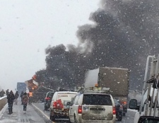 401 Woodstock truck fire