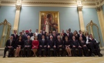 Prime Minister Justin Trudeau, fifth from left, and Governor General David Johnston, centre, pose for a group photo with the new Liberal cabinet at Rideau Hall in Ottawa on Wednesday, Nov. 4, 2015. (THE CANADIAN PRESS / Adrian Wyld)