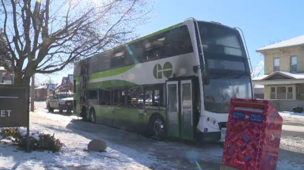 GO Transit bus fire - February 14/2016