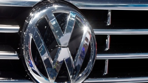 The Volkswagen logo is seen on a car during the Car Show in Frankfurt, Germany on Sept. 22, 2015. (AP / Michael Probst)