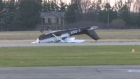 Small plane flips after landing in Brantford