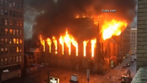Fire rips through historic cathedral in Manhattan