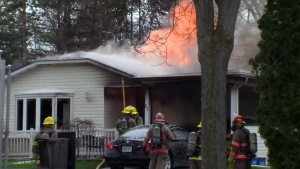 One person was seriously injured when fire broke out inside a home on Christopher Drive in Waterloo on Saturday, April 30, 2016.