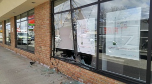 A car crashed into the front of the Scotiabank branch at Westmount and Highland roads in Kitchener on Thursday, May 5, 2016. (Dan Lauckner / CTV Kitchener)