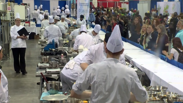 Students compete at a Skills Ontario competition in Waterloo on Monday, May 4, 2015.