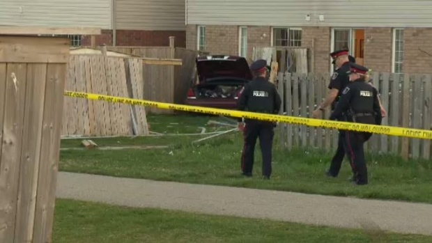 A car ended up crashing into the back of house in Kitchener.