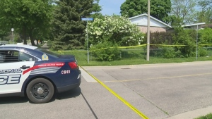 Police investigate a fatal shooting on Greendale Crescent in Kitchener on Saturday, May 28, 2016.