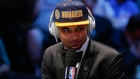 Jamal Murray answers questions during an interview after being selected seventh overall by the Denver Nuggets during the NBA basketball draft, Thursday, June 23, 2016, in New York. (AP Photo/Frank Franklin II)