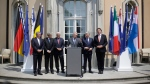 The Foreign Ministers from EU's founding six Jean Asselborn from Luxemburg, Paolo Gentiloni from Italy, Frank-Walter Steinmeier from Germany, Jean-Marc Ayrault from France, Didier Reynders from Belgium and Bert Koenders from the Netherlands, brief the media after a meeting on the so-called Brexit in Berlin, Germany, Saturday, June 25, 2016. (AP / Markus Schreiber)