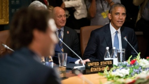 President Barack Obama listens as Canadian Prime Minister Justin Trudeau, left, speaks during North American Leaders' Summit working session at the National Gallery of Canada, Wednesday, June 29, 2016 in Ottawa Canada. (AP Photo/Pablo Martinez Monsivais)