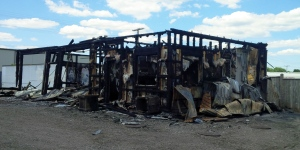 The remains of Strong Arm Industrial Cleaners in Stratford are shown on Thursday, June 30, 2016, one day after the building was destroyed by fire. (Scott Clarke / CTV Kitchener)