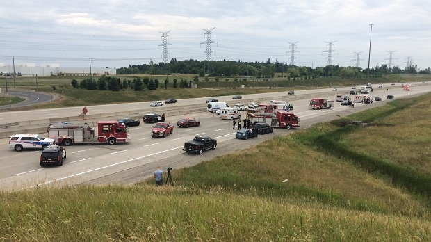 Highway 407 westbound at Mississauga Road was shut down while police investigated the scene of a fatal collision in Brampton on July 24, 2016.