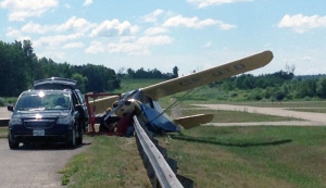 The pilot of a small aircraft was taken to hospital after it crashed at the Guelph Airpark on Tuesday, July 26, 2016. (Max Wark / CTV Kitchener)