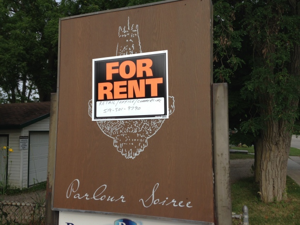 A 'for rent' sign hangs outside Parlour Soiree in Conestogo on Thursday, July 28, 2016. (Matt Harris / CTV Kitchener)
