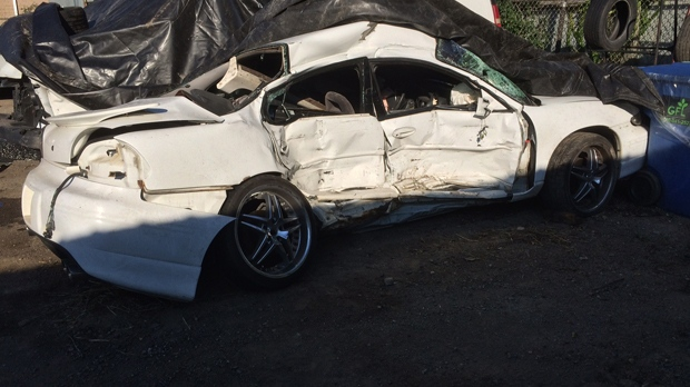 Passenger side of the car was the point of impact in the crash