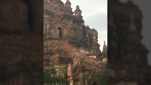 Damage to the Myauk Guni Buddhist temple can be seen after an earthquake in Bagan, Myanmar, Wednesday, Aug. 24, 2016. (David Greco / daveinosaka / Twitter)