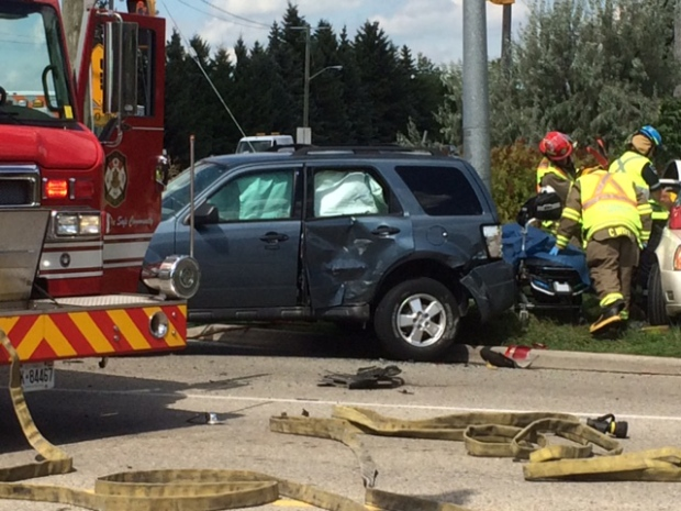 Three people were hurt in a collision that closed the intersection of King Street North and Northland Road on Wednesday, Aug. 24, 2016. (Kyle Bowden / CTV Kitchener)