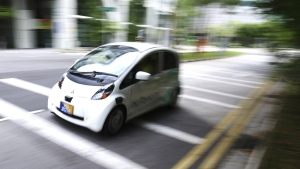 An autonomous vehicle is driven during its test drive in Singapore on Wednesday, Aug. 24, 2016. (AP / Yong Teck Lim)