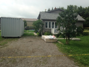 Police search a property on Hessen Strasse near St. Clements in connection with the murders of Linda and Cheyenne Daniel. (Alexandra Pinto / CTV Kitchener)