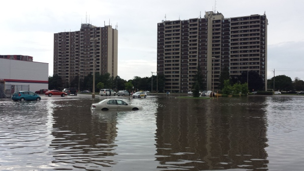 The parking lot at Fairview Park Mall was flooded out by heavy rains on Thursday, Aug. 25, 2016. (Dan Lauckner / CTV Kitchener)