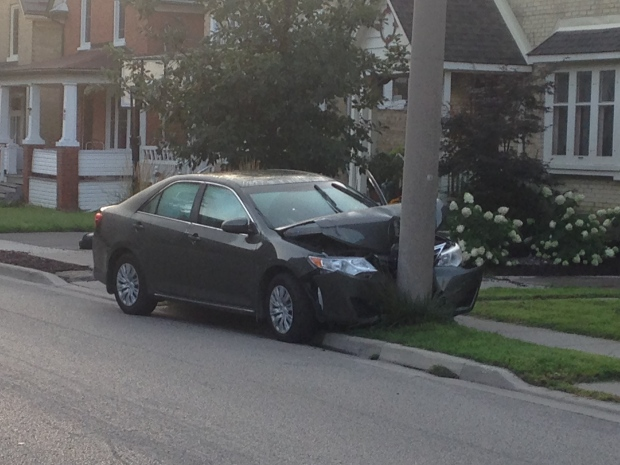 Car crashes into hydro pole on Shanley Street in Kitchener, knocking out power to neighbourhood