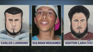Carlos Larmond, left, and Ashton Carleton Larmond, right, are seen in a court sketch along with a photo of Suliman Mohamed, centre.