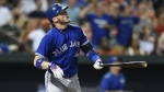 Toronto Blue Jays' Josh Donaldson watches his solo home run against the Baltimore Orioles in the fourth inning of a baseball game in Baltimore on Monday, Aug. 29, 2016. (AP / Gail Burton)