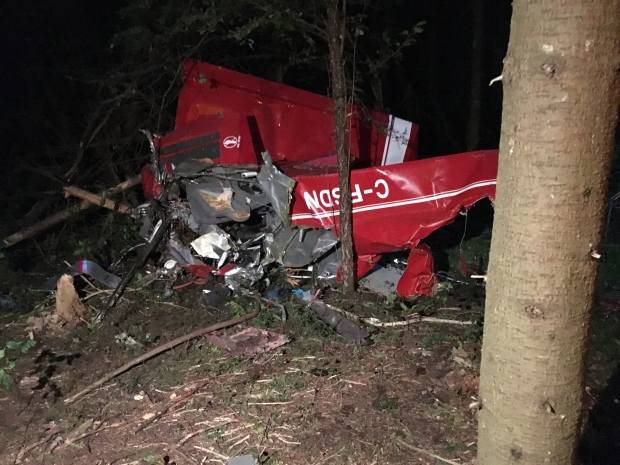 C-FSDN seen here crashed in the east end of Guelph. (Photo: Abiey Lema) September 24, 2016