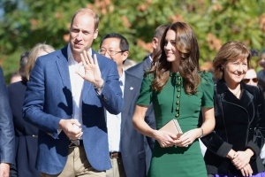 The Duke and Duchess of Cambridge and B.C. Premier Christy Clark (right) arrive for an event at the University of British Columbia's Okanagan campus in Kelowna, B.C., Tuesday, Sept. 27, 2016. (THE CANADIAN PRESS/Jonathan Hayward)