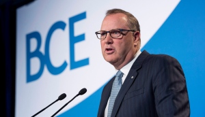 George Cope, president and CEO of BCE Inc. addresses the company's annual meeting Thursday, April 28, 2016 in Montreal. (Paul Chiasson / THE CANADIAN PRESS)