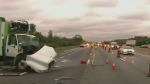 A rear-end crash on the 401 sent seven people to h
