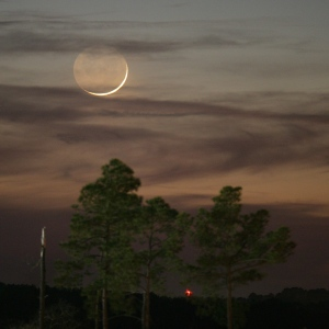 In this Jan. 9, 2008, file photo, one day past New, an early Waxing Crescent Moon is seen just after sunset from Tyler, Texas. (AP / Dr. Scott M. Lieberman)
