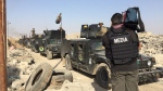 Armoured vehicles and tanks travel through the village of Badana in Iraq on Wednesday, Oct. 19, 2016. (Paul Workman / CTV News)