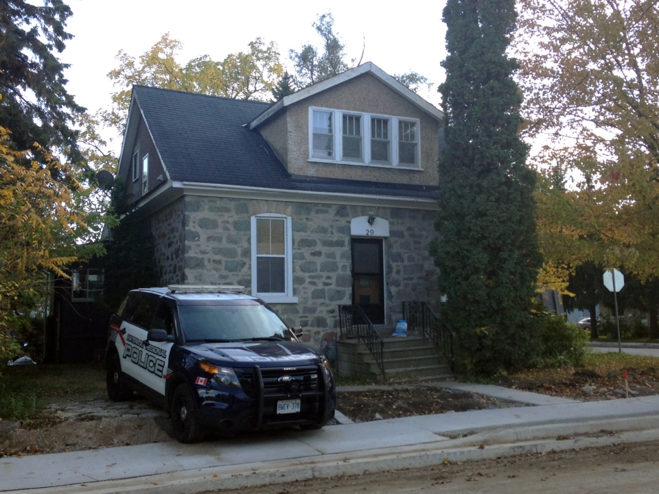 A police cruiser is seen outside 29 Crombie Street in Cambridge on Wednesday, Oct. 19, 2016. (Max Wark / CTV Kitchener)