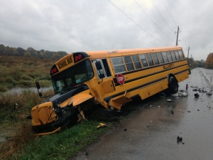 A school bus and SUV collided on Blair Road, seriously injuring both drivers, on Thursday, Oct. 20, 2016. (Kevin Doerr / CTV Kitchener)